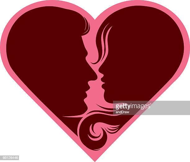 Paar in Rosa Herz