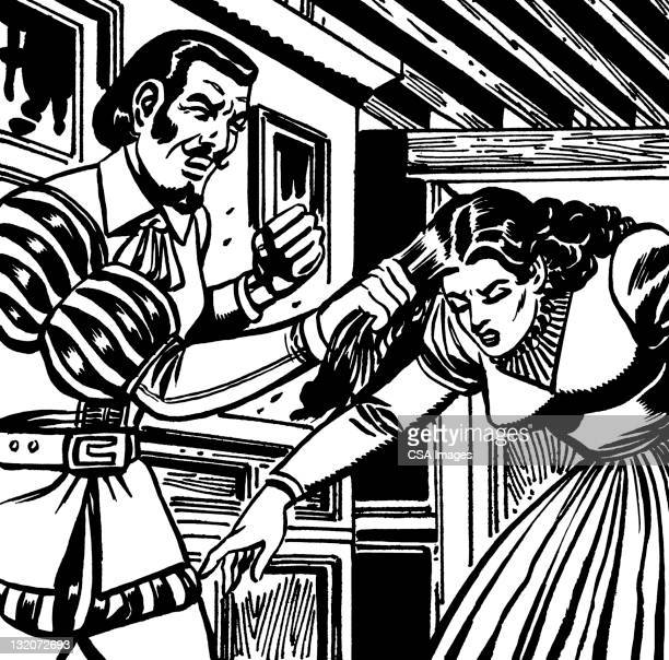ilustraciones, imágenes clip art, dibujos animados e iconos de stock de pareja en renaissance dress, hombre tirando de mujer de cabello - tirarse de los pelos