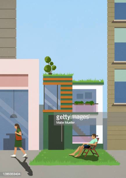 couple in sunny grass and driveway of modern house - leisure activity stock illustrations