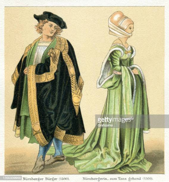 paar in traditioneller kleidung von nürnberg deutschland 15. jahrhundert - renaissance stock-grafiken, -clipart, -cartoons und -symbole