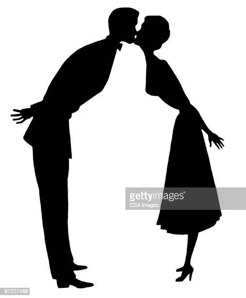 couple kissing - marriage stock illustrations