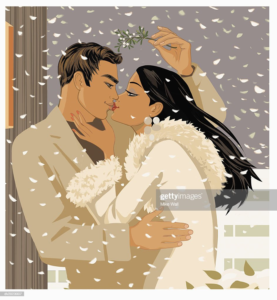 Couple Kissing Underneath Mistletoe Outside in the Snow : Stock Illustration