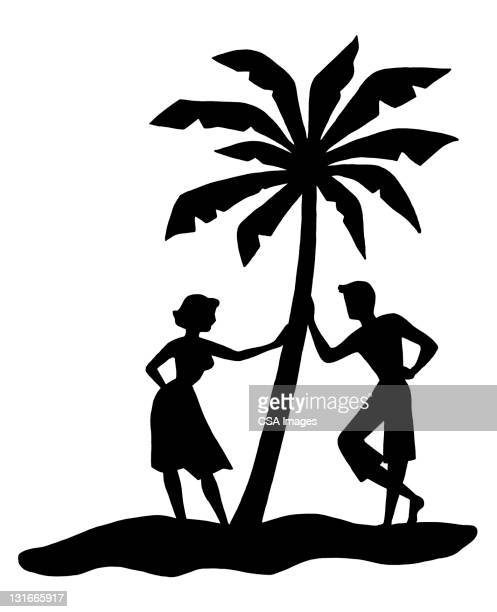 couple leaning against palm tree - pacific islands stock illustrations