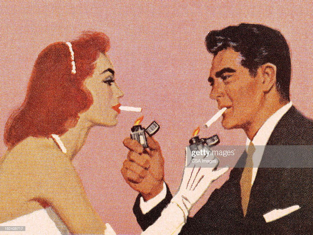 Couple Lighting Each Others Cigarette : Stockillustraties