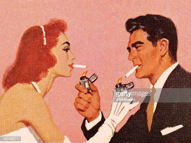 couple lighting each others cigarette - smoke stock illustrations, clip art, cartoons, & icons