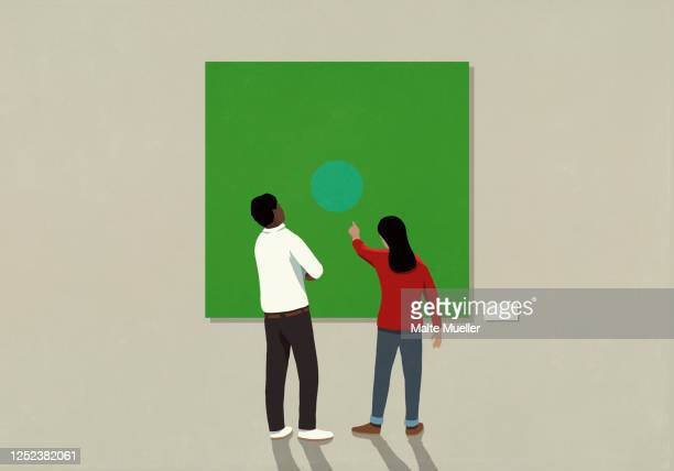 couple looking at abstract art in museum - full length stock illustrations