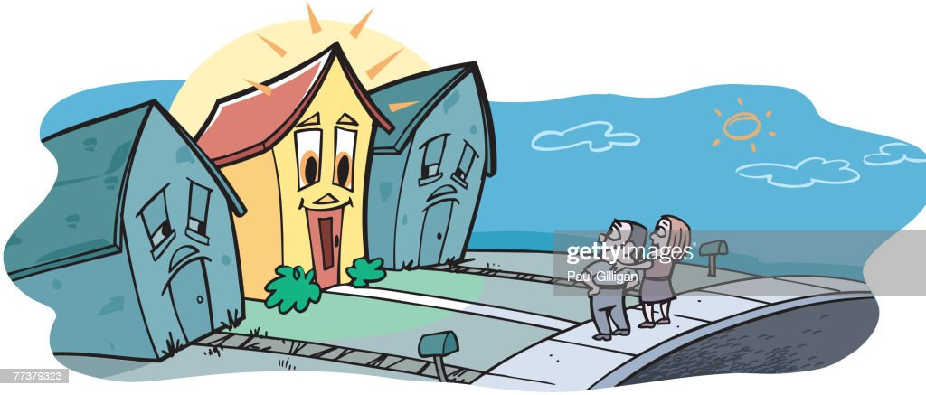 A couple looking at their dream house : Illustration