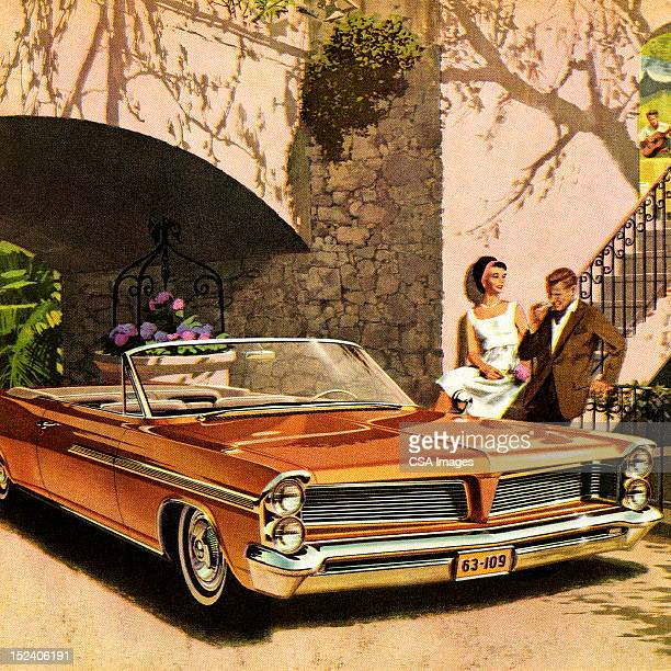 couple next to orange convertible car - next stock illustrations