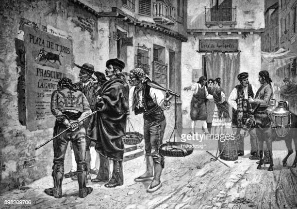 Couple of men are reading an information poster on bullfighting on Spanish street - 1896