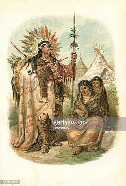 couple of native american ethnicity plains indians 1880 - indigenous north american culture stock illustrations, clip art, cartoons, & icons