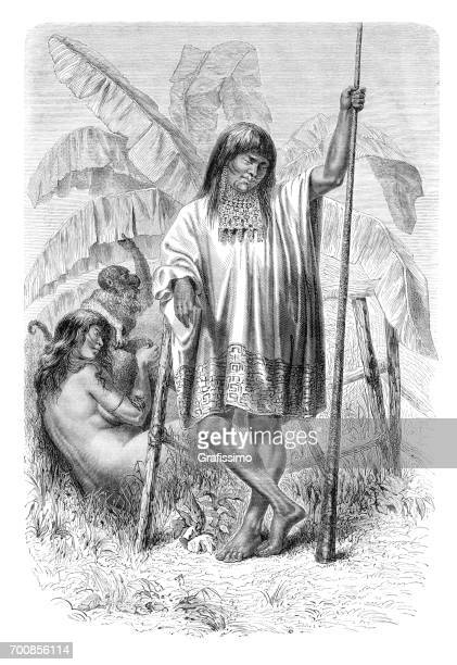 Couple of native american tribe of Conibo in Peru 1864