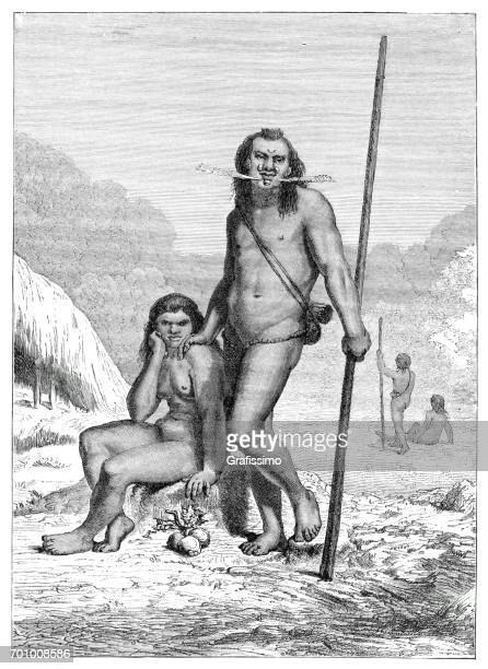 couple of native americans from the tribe mayoruna brazil peru - indian costume stock illustrations, clip art, cartoons, & icons