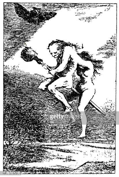 couple on a witches broom - vampire stock illustrations