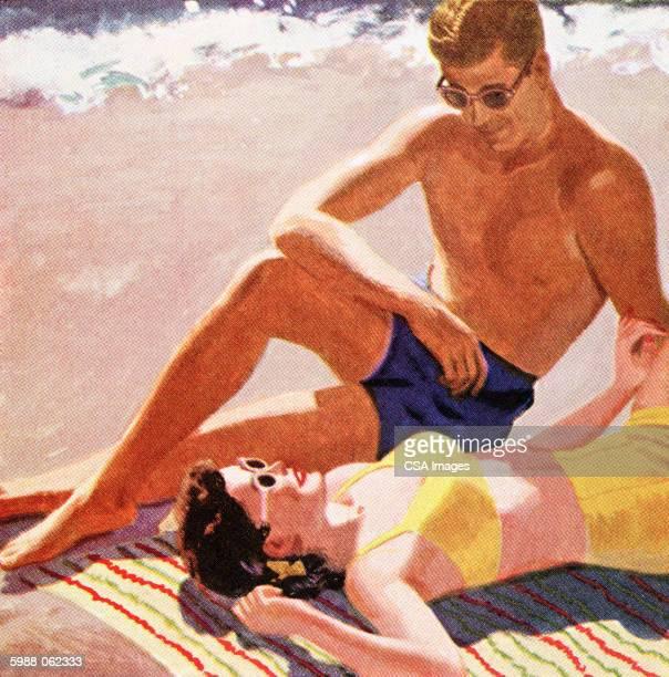 couple on beach - idyllic stock illustrations