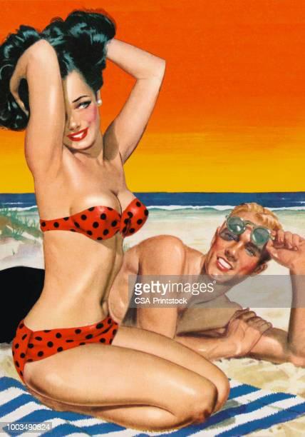 ilustraciones, imágenes clip art, dibujos animados e iconos de stock de pareja en la playa - chicas de calendario