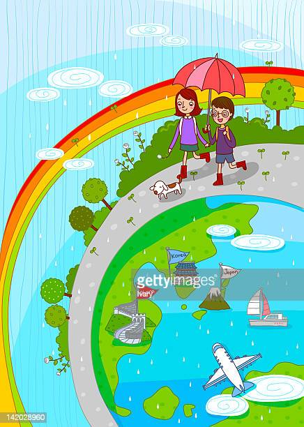 couple on tour ride - monsoon stock illustrations, clip art, cartoons, & icons