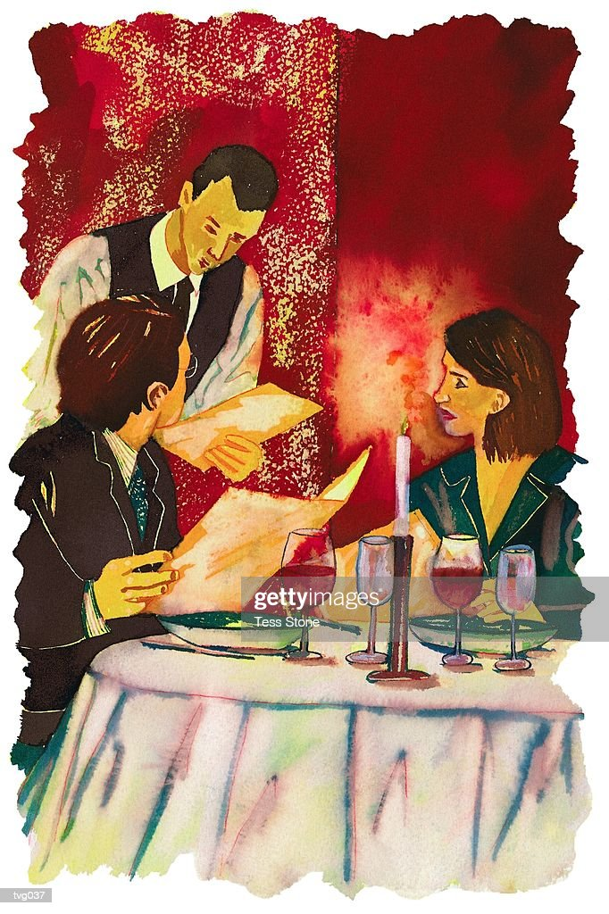 Couple Ordering Dinner : Stockillustraties
