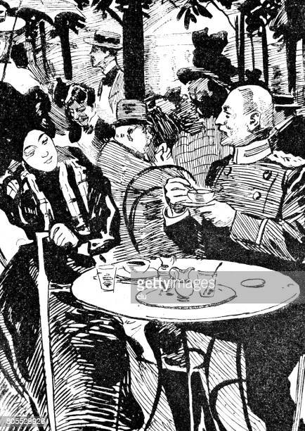 couple outdoor sitting at the table drinking coffee - central europe stock illustrations, clip art, cartoons, & icons