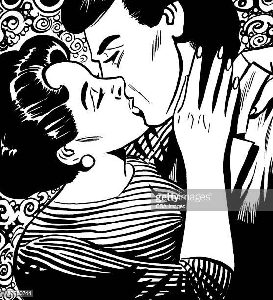 couple passionately kissing - kissing on the mouth stock illustrations, clip art, cartoons, & icons