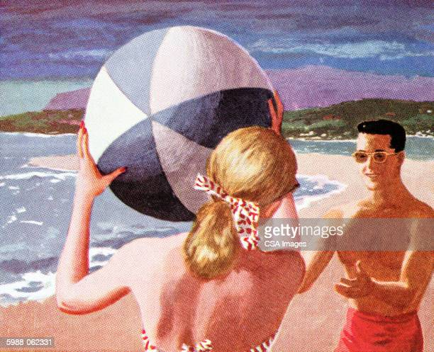 couple playing at beach - sunglasses stock illustrations