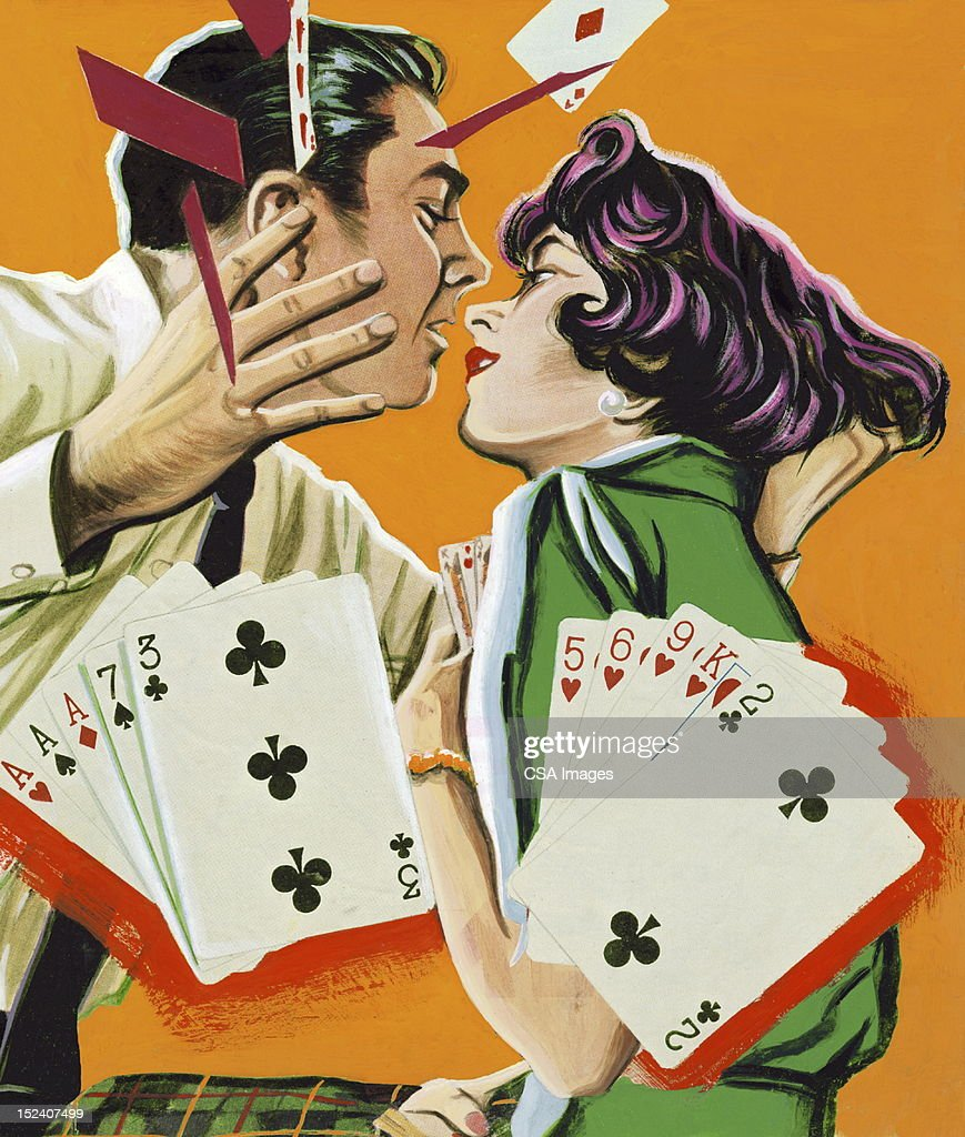 Couple Playing Cards and About to Kiss : stock illustration