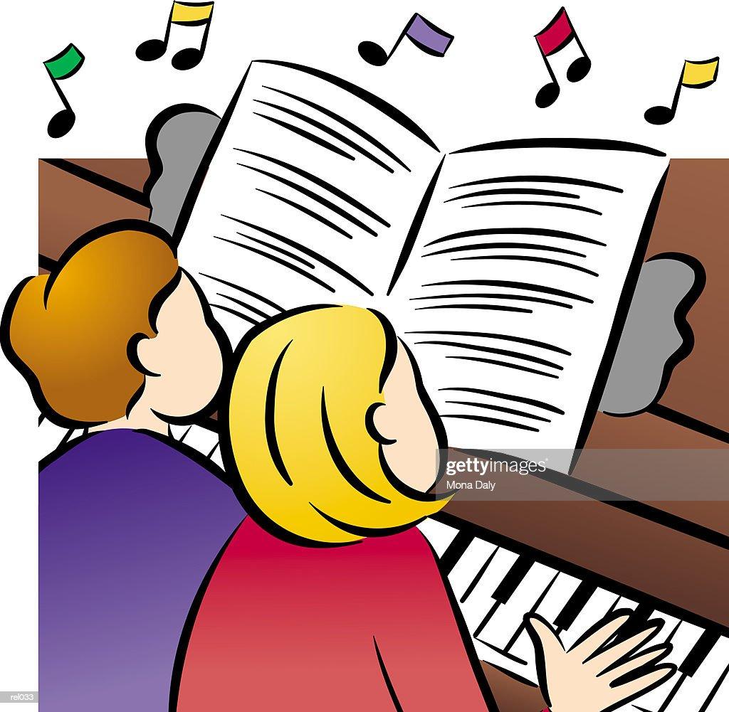 Couple Playing Piano : Ilustração de stock