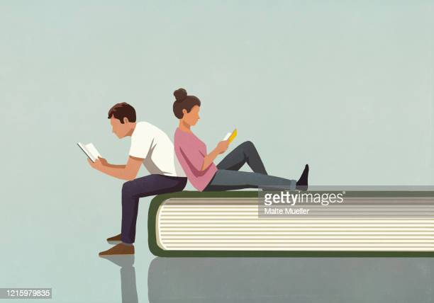 couple reading books on large book - adult stock illustrations
