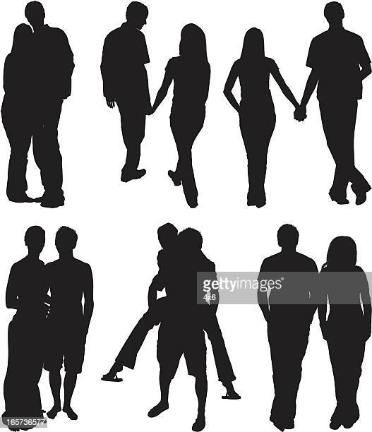 couple romancing together - piggyback stock illustrations, clip art, cartoons, & icons