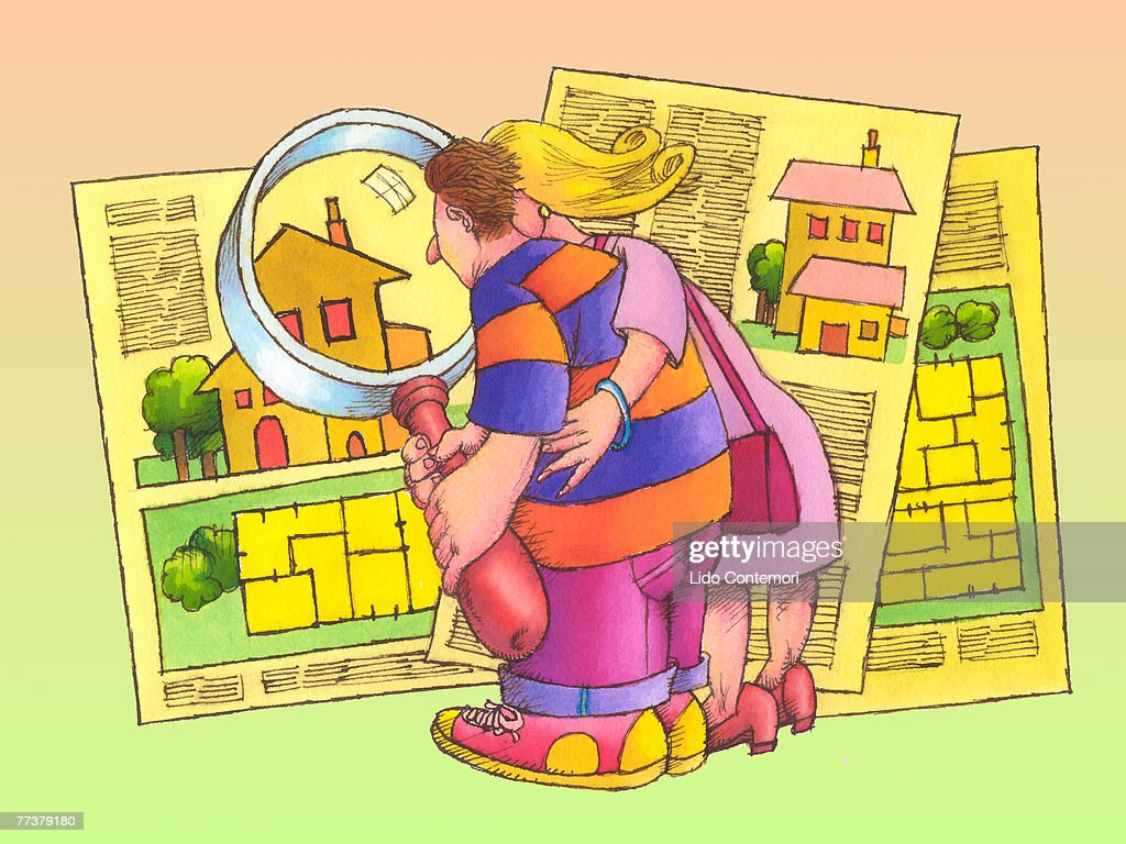 A couple shopping for houses using a magnifying glass to look at the house plans : Illustration