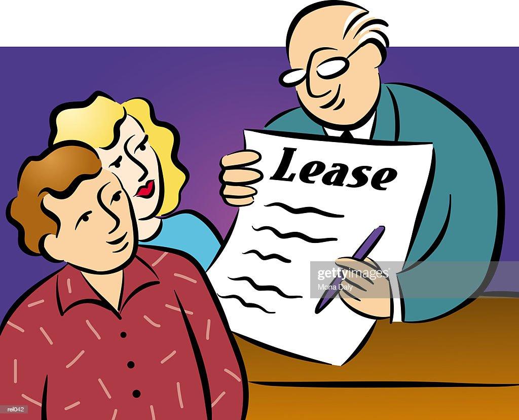 Couple Signing Lease : Ilustração de stock