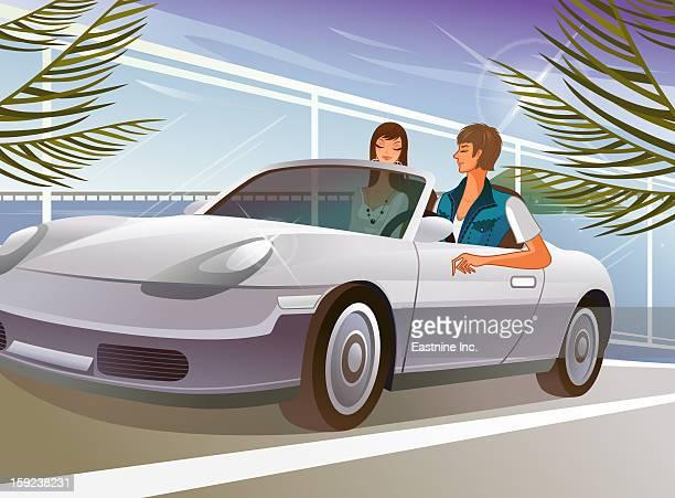 bildbanksillustrationer, clip art samt tecknat material och ikoner med couple sitting in car - partire