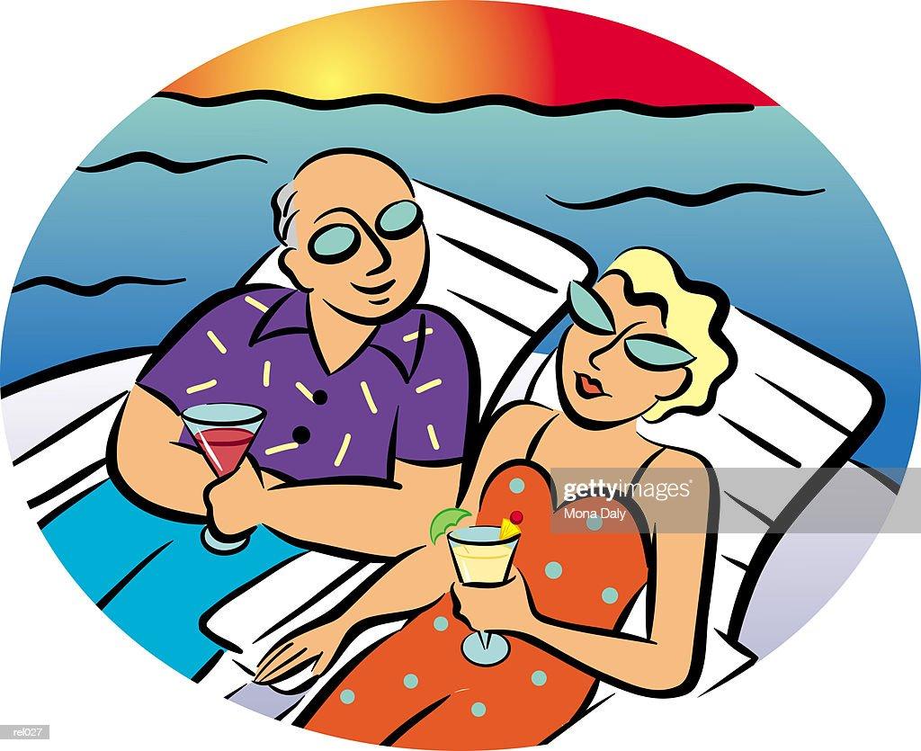 Couple Sitting in Lounge Chairs : Ilustração de stock