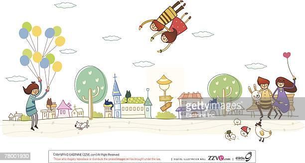 ilustraciones, imágenes clip art, dibujos animados e iconos de stock de couple sitting on a bench with another couple flying in the sky and a man holding balloons - pollo asado