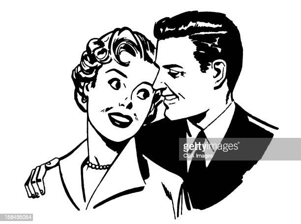 couple smiling at each other - other stock illustrations, clip art, cartoons, & icons
