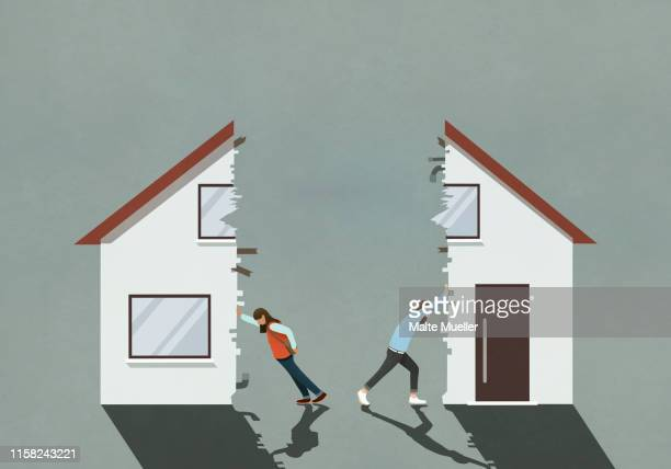 couple splitting house in divorce - image technique stock illustrations