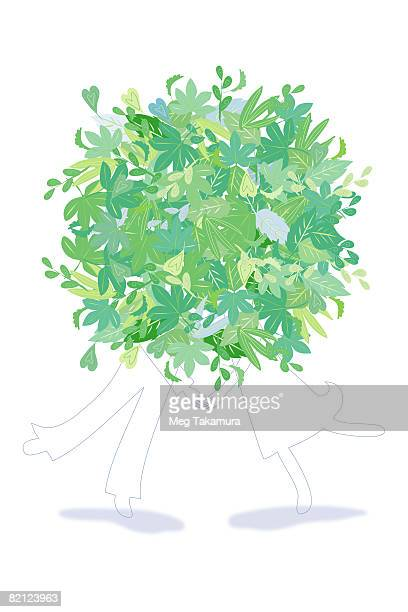 couple standing behind leaves - standing on one leg stock illustrations, clip art, cartoons, & icons