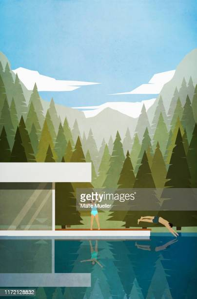 couple stretching and swimming outside modern lake house - carefree stock illustrations