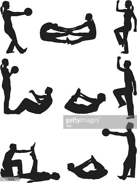 couple stretching and working out - touching toes stock illustrations, clip art, cartoons, & icons