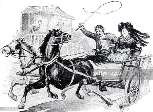 ilustraciones, imágenes clip art, dibujos animados e iconos de stock de pareja viajando con un carruaje - látigo