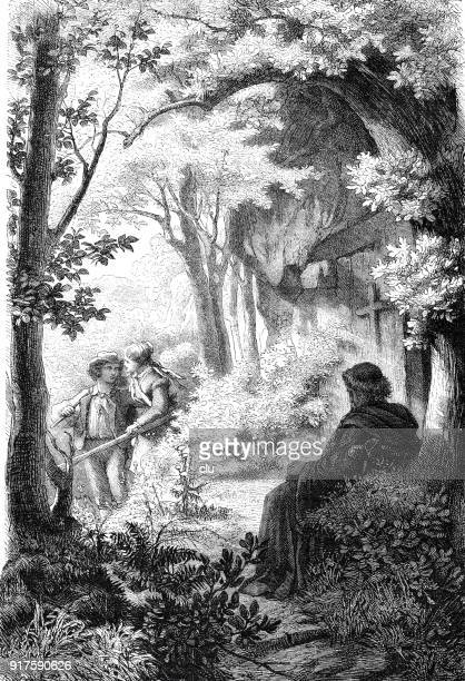 a couple visits a christian hermit - 1877 stock illustrations, clip art, cartoons, & icons