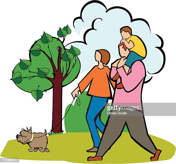 couple walking in a park with their son and a dog - landing touching down stock illustrations