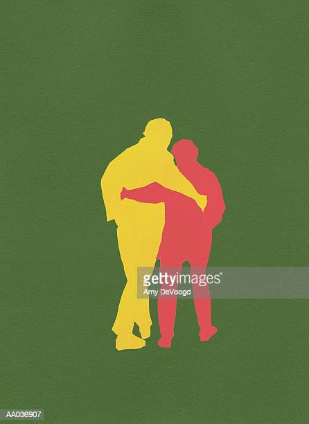 ilustraciones, imágenes clip art, dibujos animados e iconos de stock de couple walking, rear view, silhouette - adulto de mediana edad