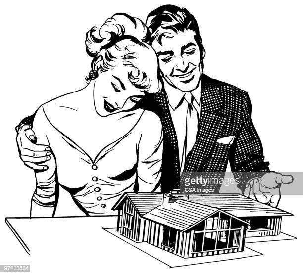 couple with model home - embracing stock illustrations