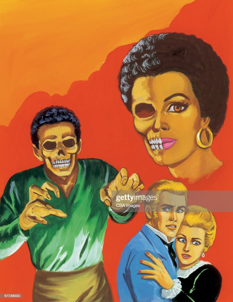 Couple With Two Zombies : stock illustration