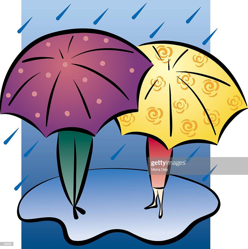 Couple with Umbrellas : Ilustração de stock