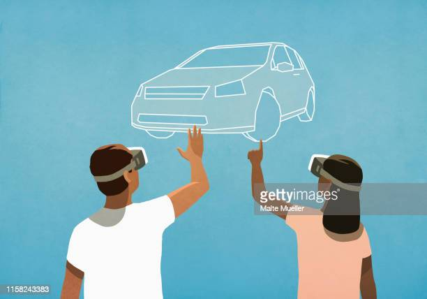 couple with virtual reality simulator glasses shopping for car - consumerism stock illustrations