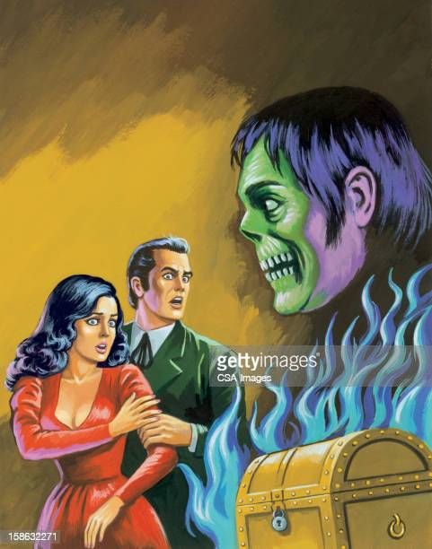 couple with zombie and chest - {{relatedsearchurl('racing')}} stock illustrations, clip art, cartoons, & icons