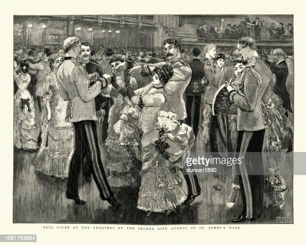 illustrations, cliparts, dessins animés et icônes de couples danser au bal de la soirée à st james hall, 1884 - danse de salon