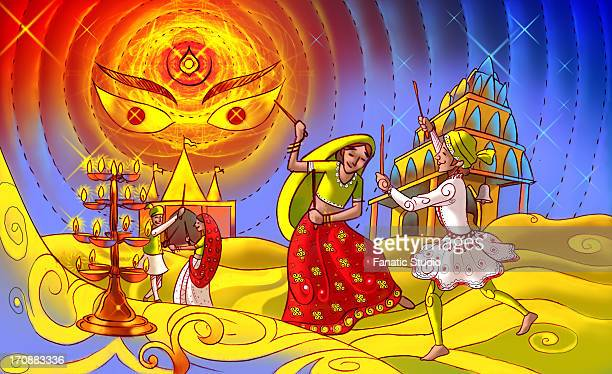 ilustraciones, imágenes clip art, dibujos animados e iconos de stock de couples doing garba dance of navratri festival - pareja bailando cuerpo entero