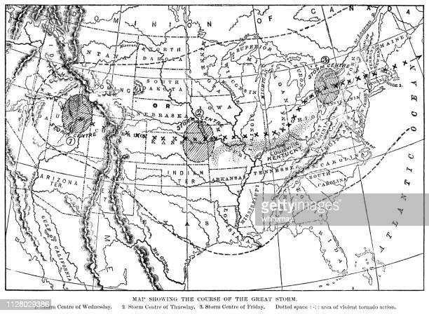 course of the great storm of 1890 in the usa - hurricane stock illustrations, clip art, cartoons, & icons